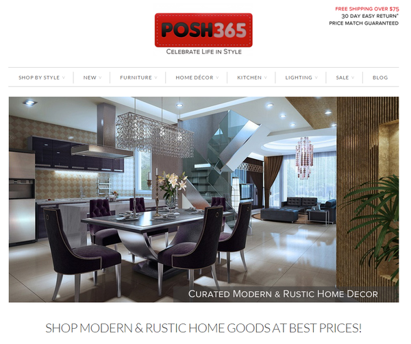 Blogger outreach assignment: POSH365 - Sells stylish modern & rustic home goods up to 60% off. Celebrate Your Life In Style! ♥