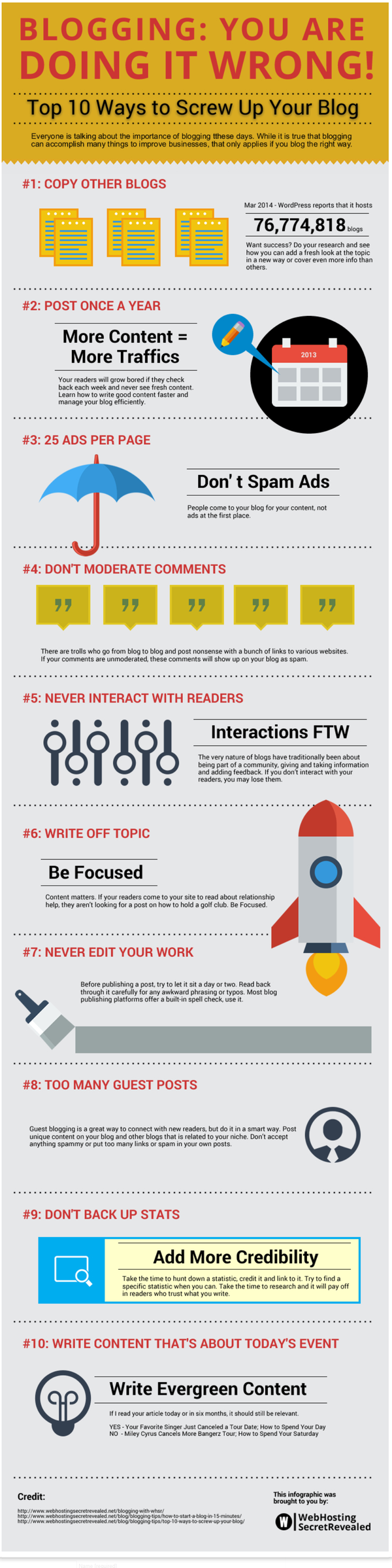 Infographic - Top 10 ways to screw up your blog