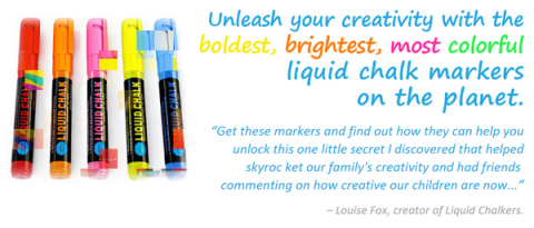 Blogging assignment: Creative US & Canadian parents and/or arts & craft bloggers wanted to review and promote new set of bright, colorful, fun liquid chalk markers (for use on all kinds of surfaces – like chalk but without all the mess!)