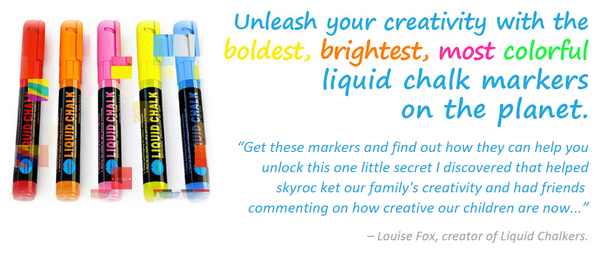 Blogging assignment: Creative US & Canadian parents and/or arts&craft bloggers wanted to review and promote new set of bright, colorful, fun liquid chalk markers (for use on all kinds of surfaces - like chalk but without all the mess!)