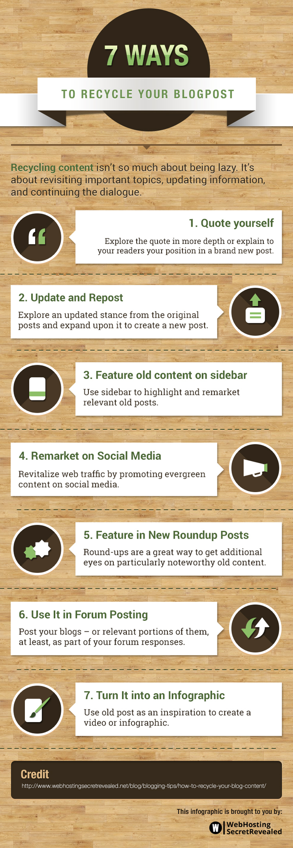 Blogging Infographic by Web Hosting Secret Revealed (WHSR) . Infographic: 7 ways to make the most out of old blog posts