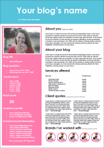 Blogger media kit with bold sidebar