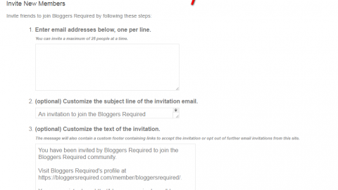 Send invites to fellow bloggers from your profile