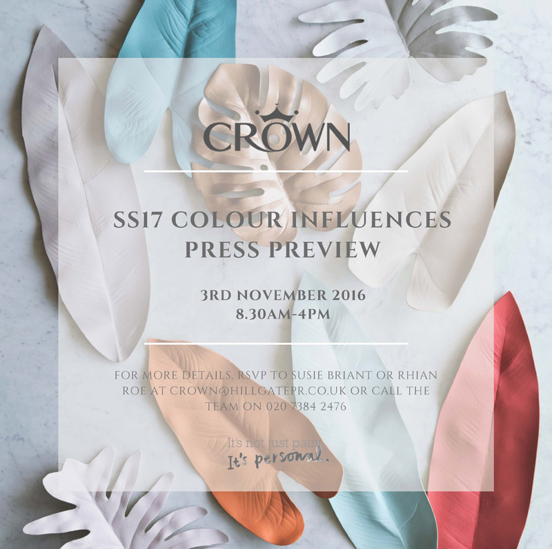 Blogging assignment: Crown Paints Spring/Summer 2017 Press Preview (Soho, London, 3rd November 2016)