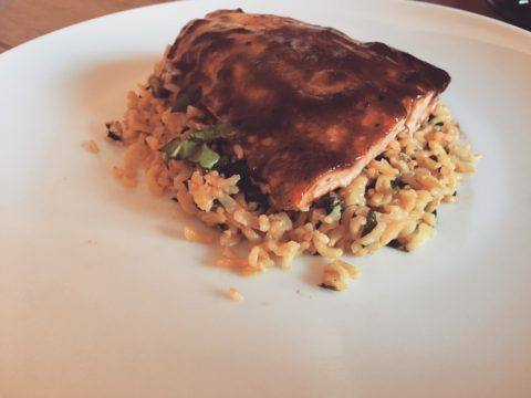 Spicy BBQ Salmon, with Spinach & Lemon Rice