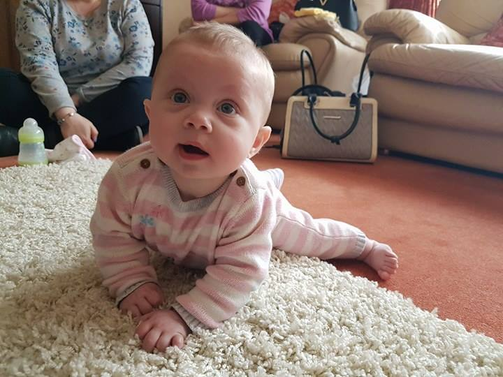 Six Month Old Baby Trying To Crawl