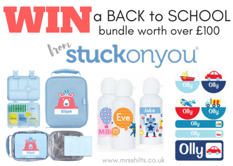 Blogger @mrsshilts UK Giveaway: Win a personalised back to school bundle from Stuck On You – Closes 07/31/2017
