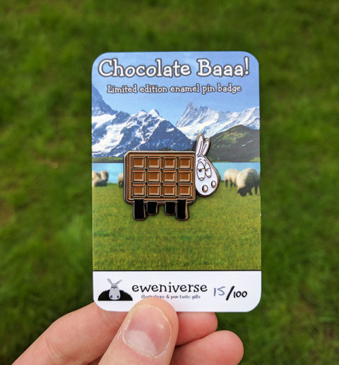 Blogger @craftcartwright UK Giveaway: win a chocolate baa pin badge – Closes 4th Oct 2017