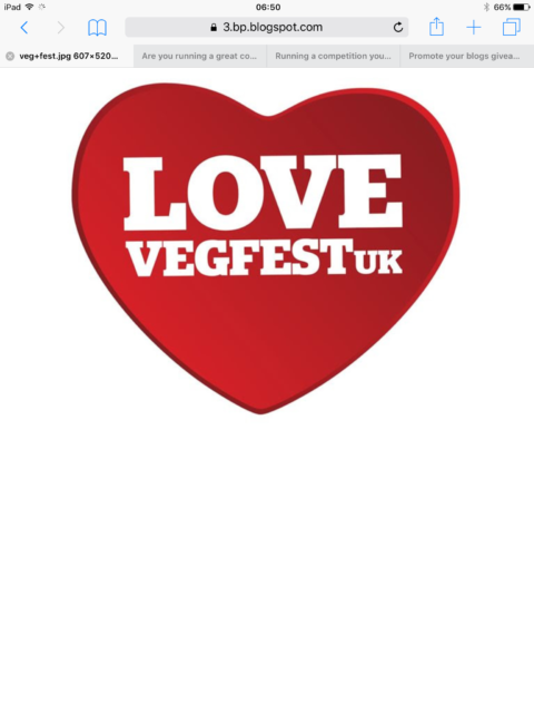 Blogger @simplyf00d UK Giveaway: E:20/09 Win 1 pair of weekend tickets to VegFestUK  London – Closes 09/20/2017