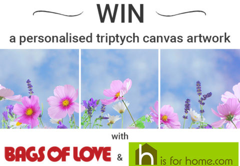 Blogger @hisforhome Worldwide Giveaway: Win a personalised triptych artwork from Bags of Love &  H is for Home – Closes 09/30/2017