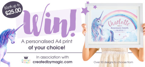 Blogger @FrugalMrsW UK Giveaway: Win an A4 Personalised Print from Created By Magic – Closes 1st Dec 2017