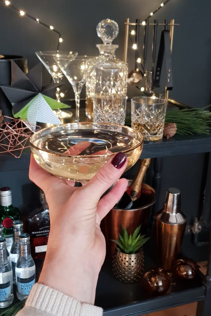 opulence, barcart, drinks trolley, Gatsby, Gatsby party, Christmas decorations, Christmas styling, interiors, styleophile uk, sainsburys home